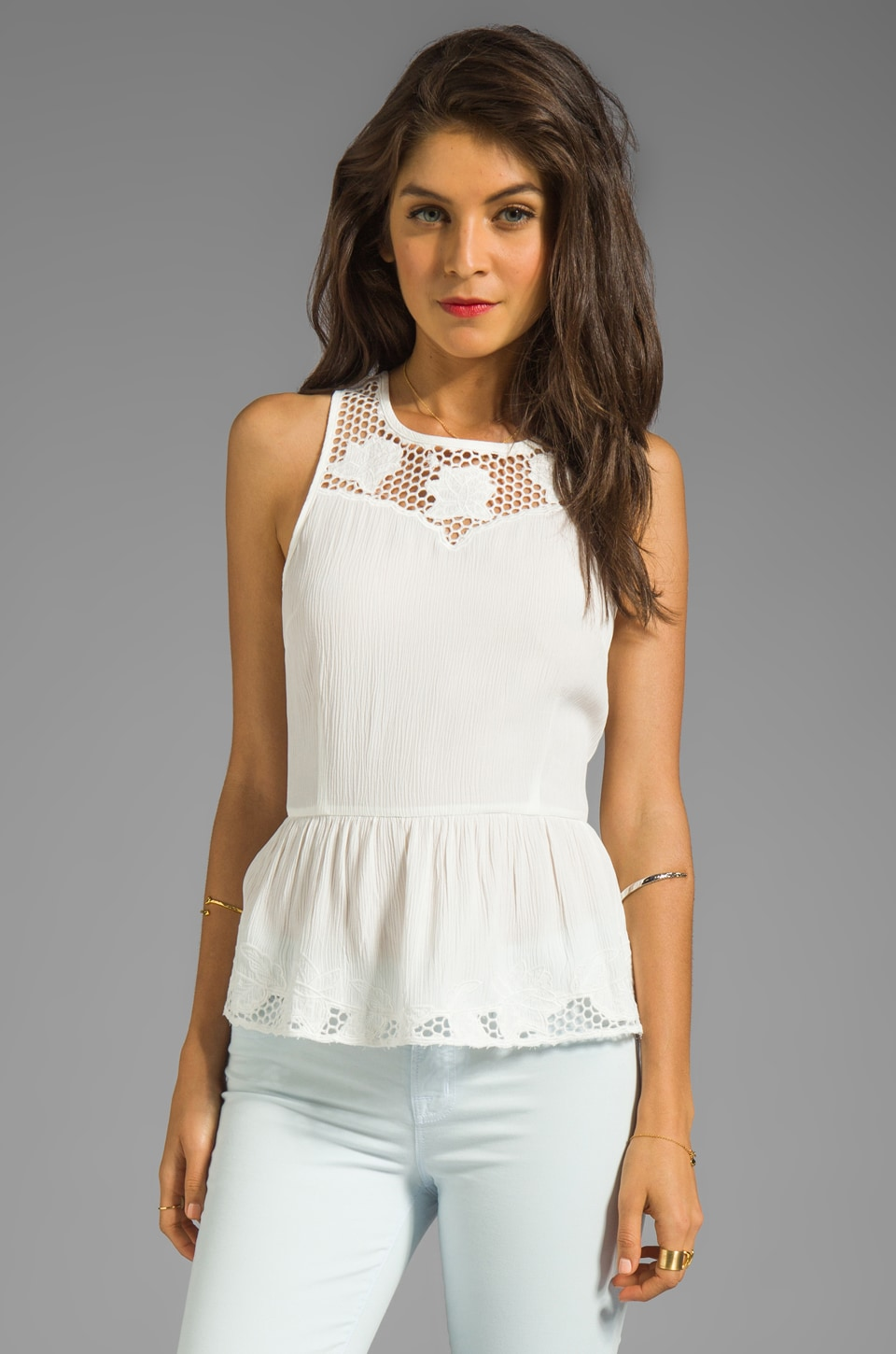 Line & Dot Embroidered Peplum Top in White
