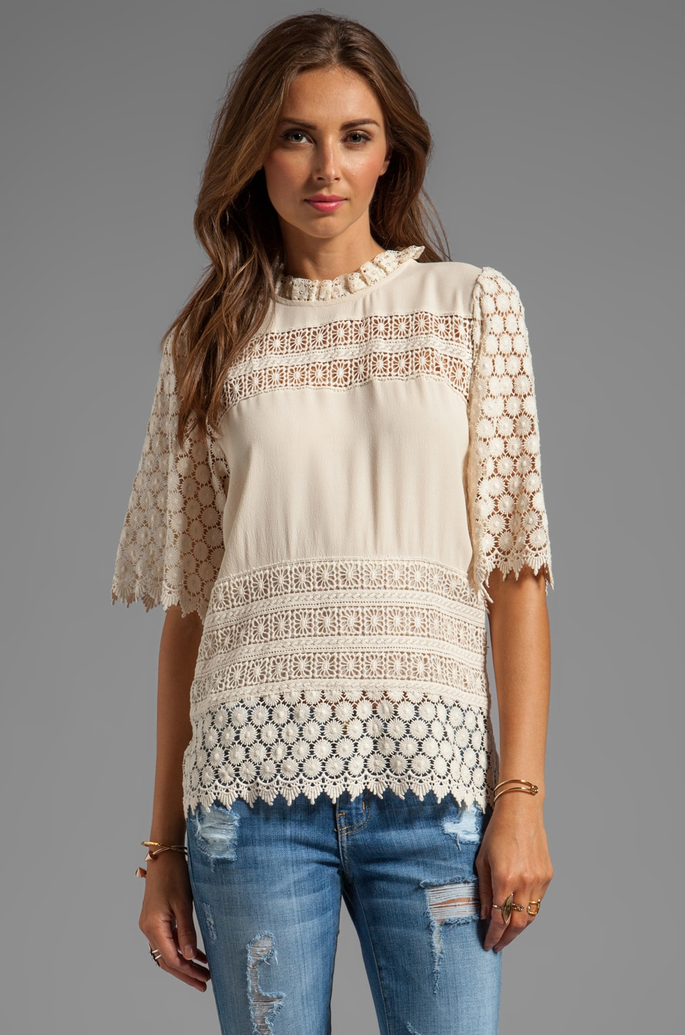 Line & Dot Prairie Lace Top in Vanilla