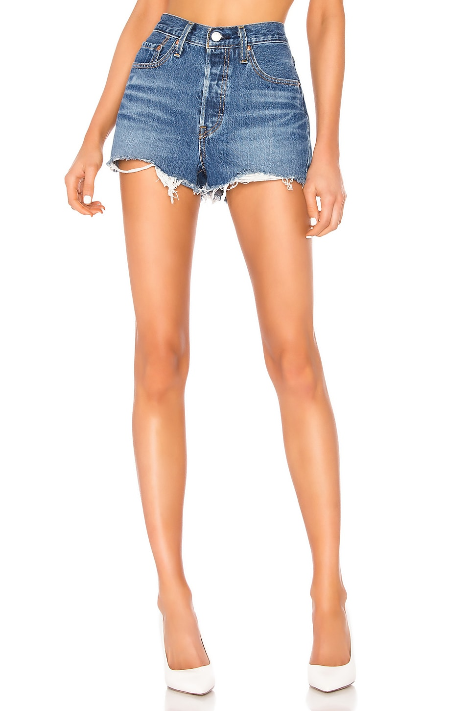 LEVI'S X REVOLVE 501 High Rise Short in Indigo Avenue