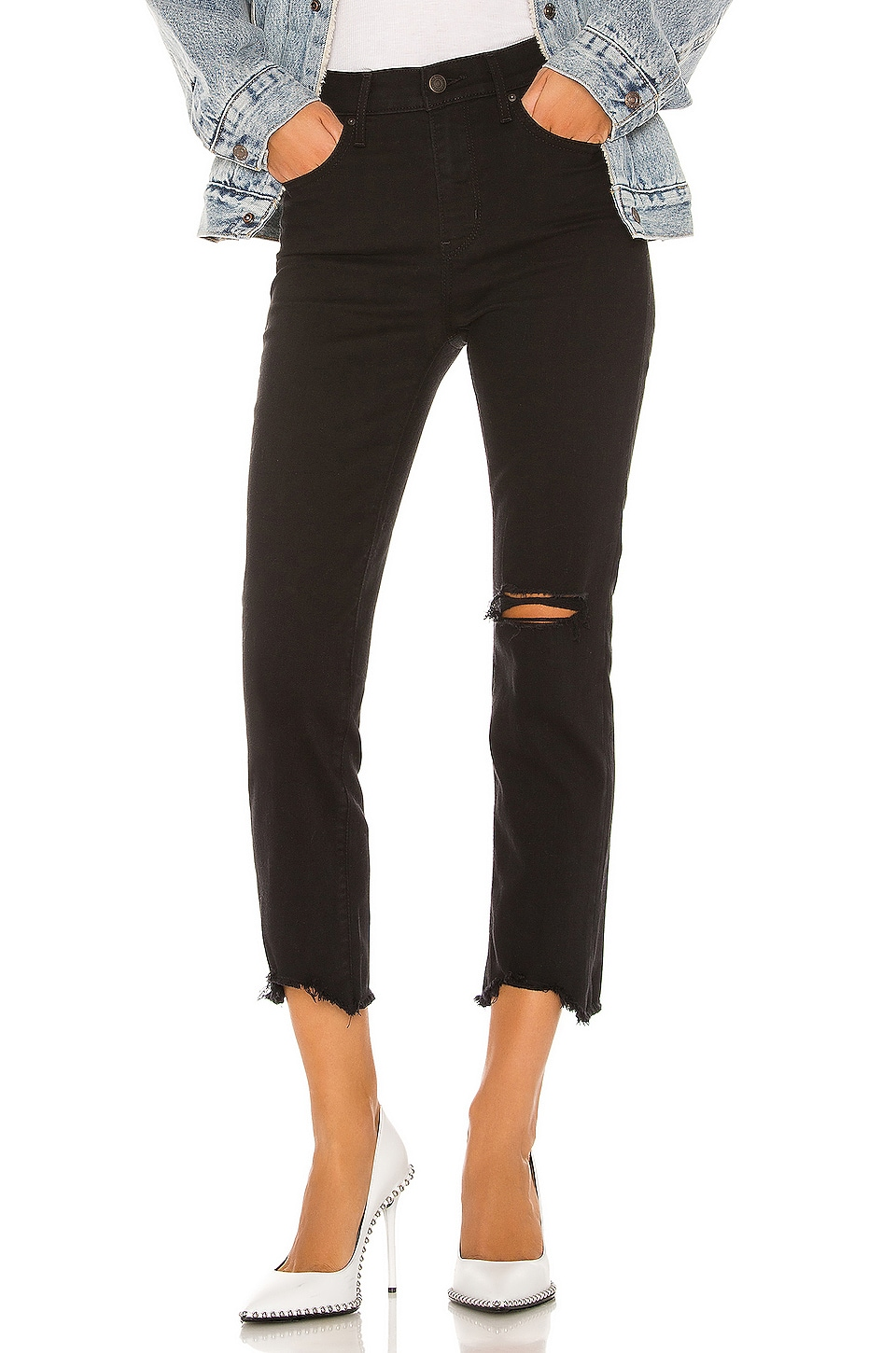 LEVI'S 724 High Rise Straight Crop in Black Pixel