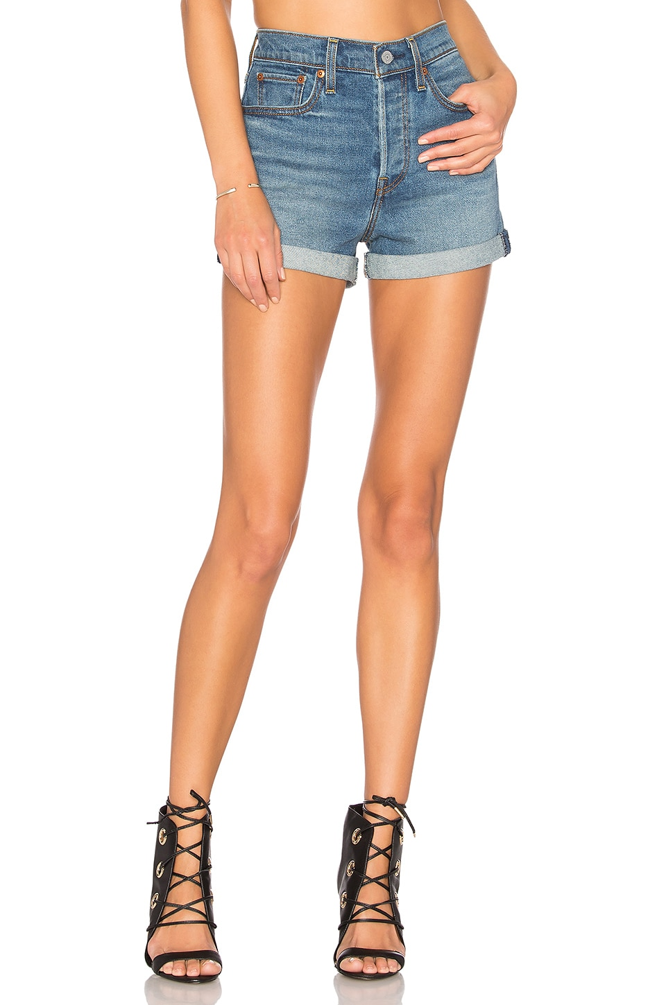 LEVI'S High Rise Wedgie Short in Blue Cheer