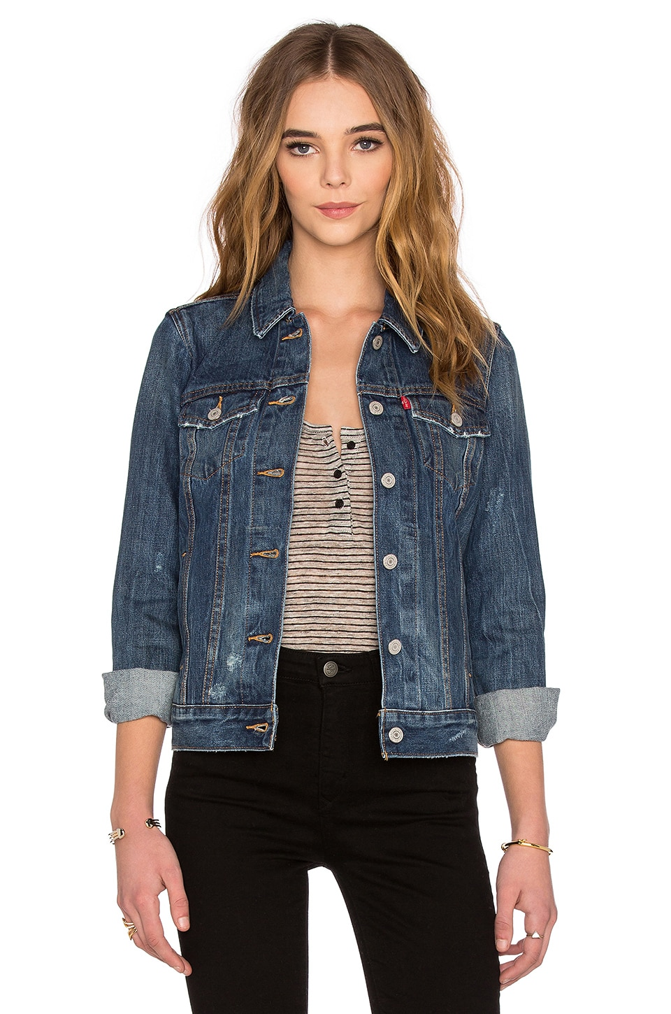 LEVI'S Boyfriend Trucker Jacket in Blue Woodstock