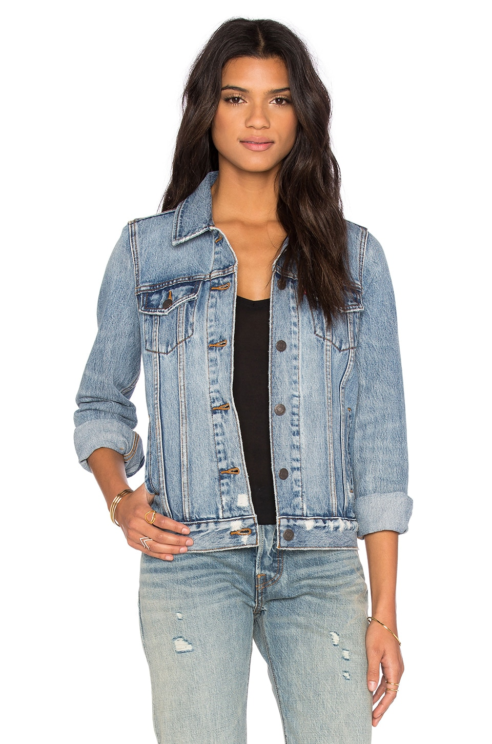LEVI'S Boyfriend Trucker Jacket in Blue Wonder