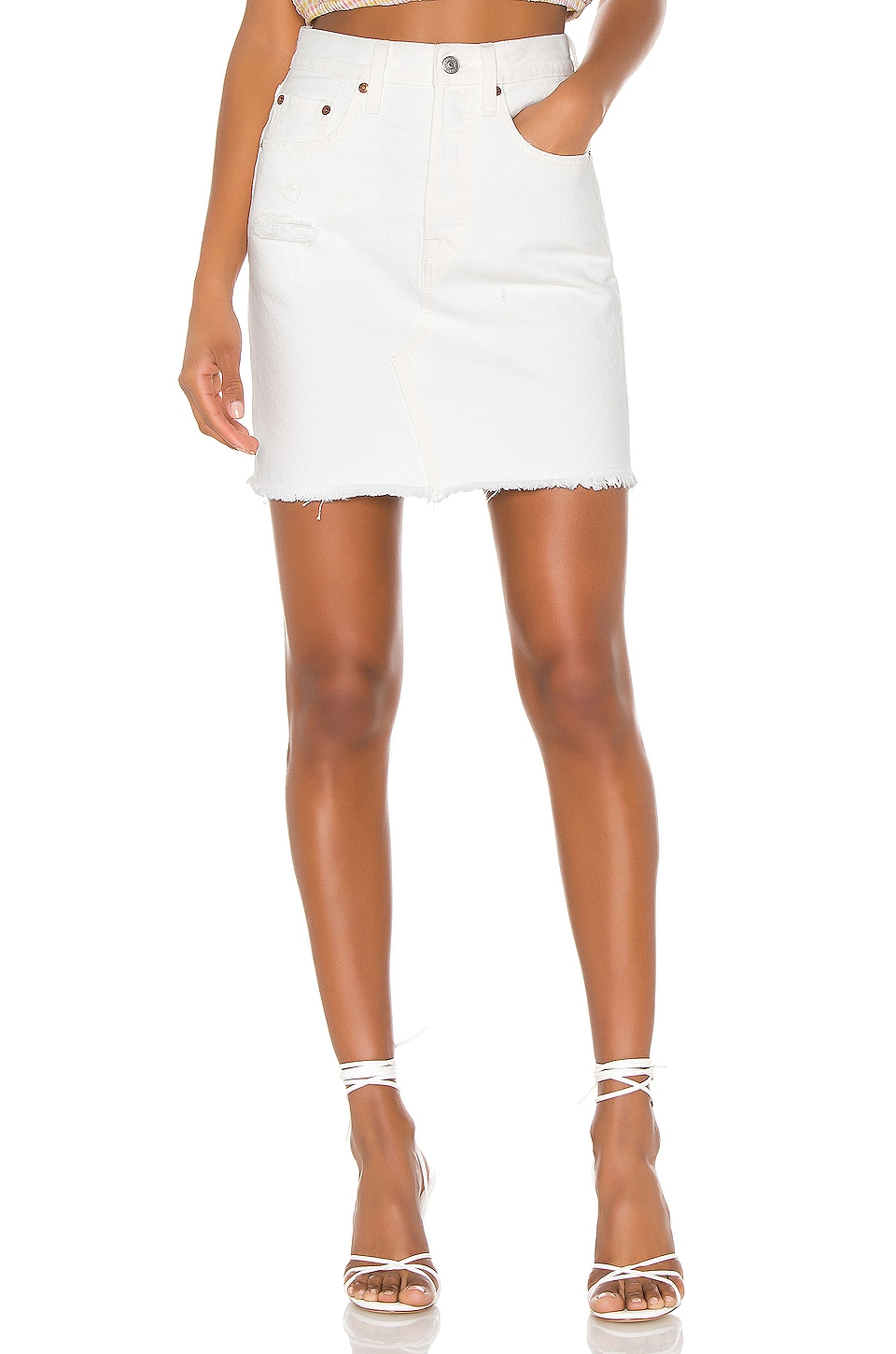 LEVI'S High Rise Deconstructed Skirt in Pearly White