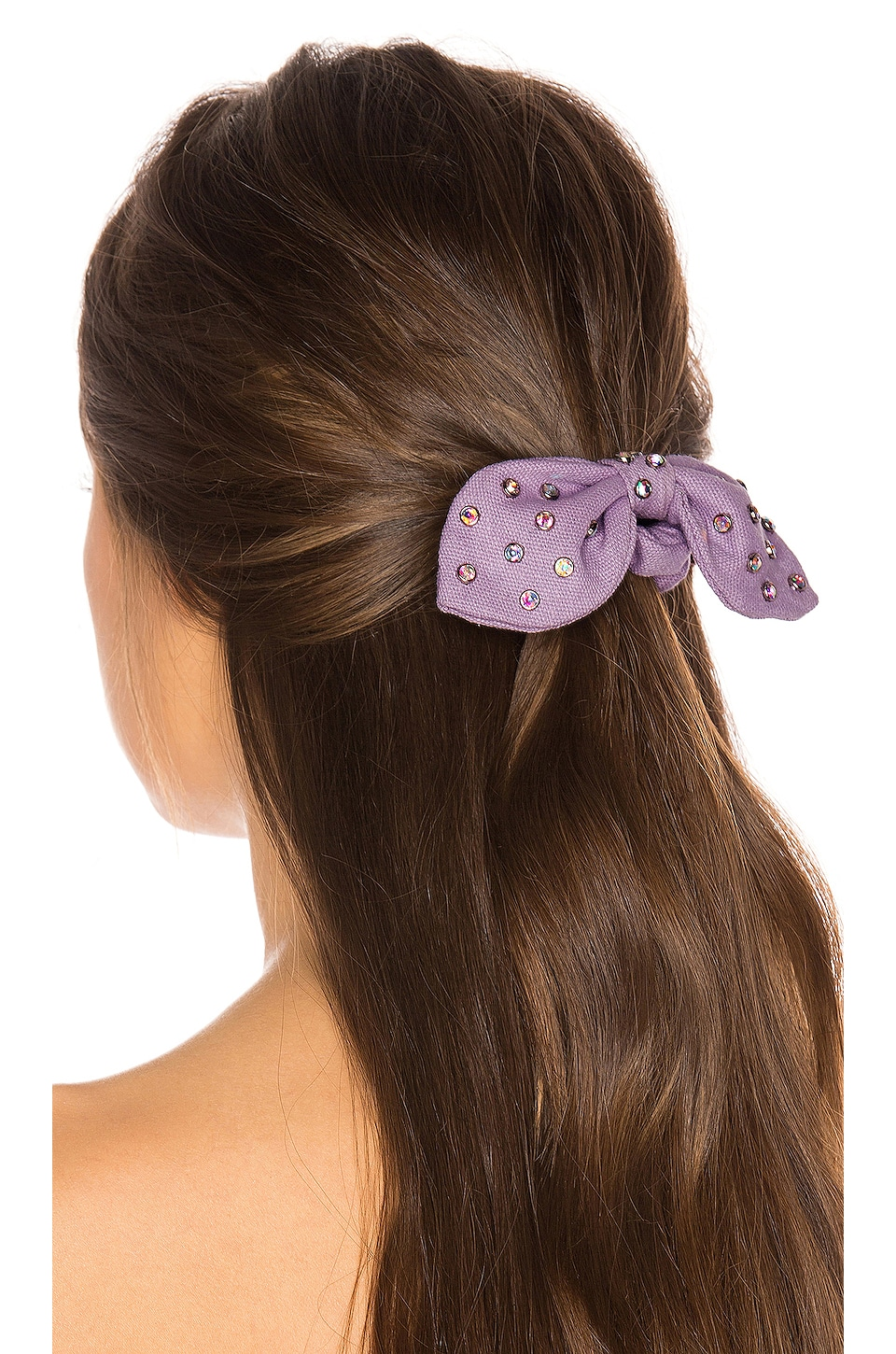 Lele Sadoughi Crystal Woven Scrunchie in Lilac