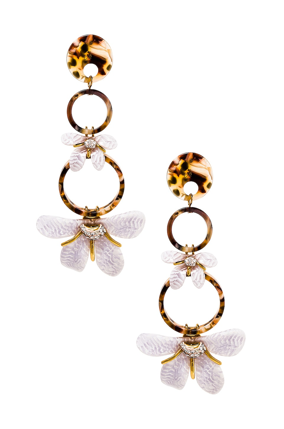 Lele Sadoughi Trumpet Lily Earrings in White Sand