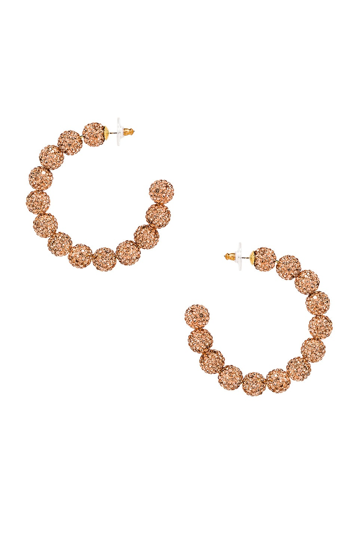 Lele Sadoughi Stardust Crystal Hoop Earrings in Peach Blossom