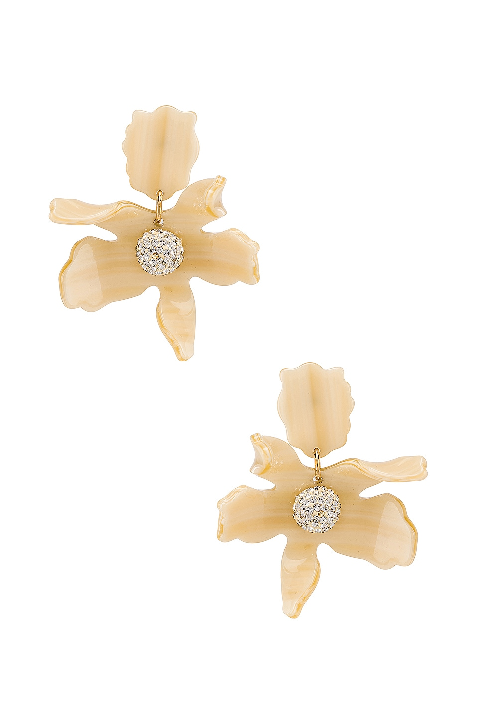 Lele Sadoughi Small Crystal Lily Earring in Bone