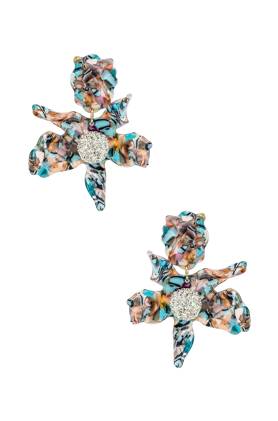 Lele Sadoughi Crystal Lily Clip On Earring in Turquoise Confetti