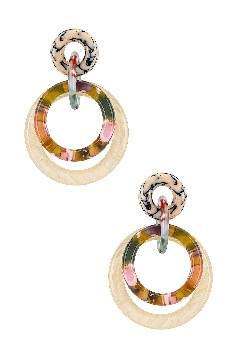 Lele Sadoughi Accessories LELE SADOUGHI DOUBLE RING HOOP EARRING IN WHITE.