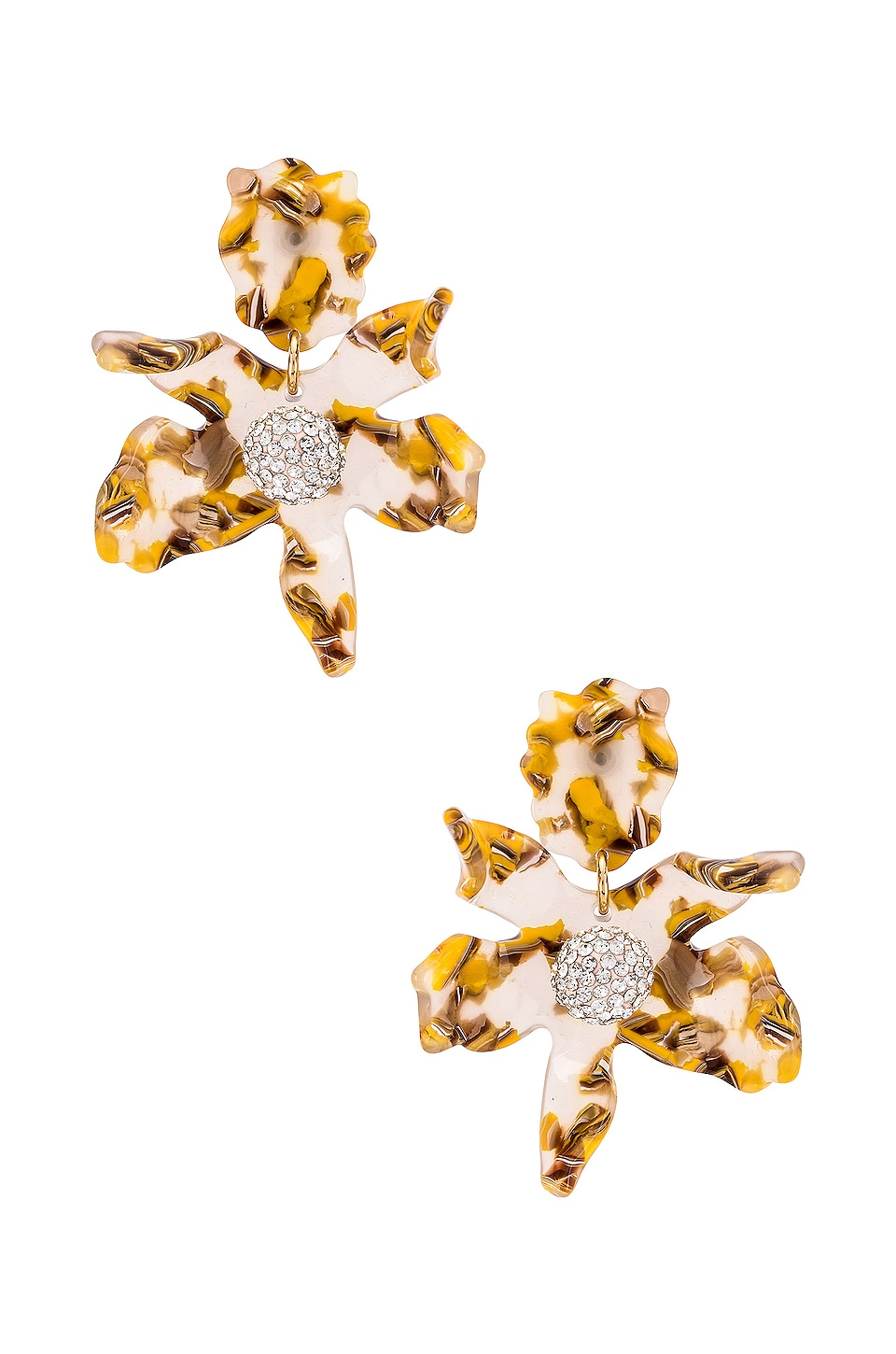 Lele Sadoughi Small Crystal Lily Earrings in Honey