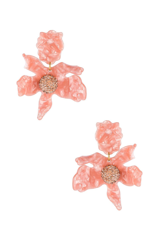 Lele Sadoughi Crystal Lily Earrings in Peach