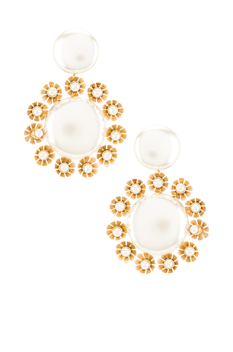Lele Sadoughi Round Plumeria Trim Earrings in Pearl