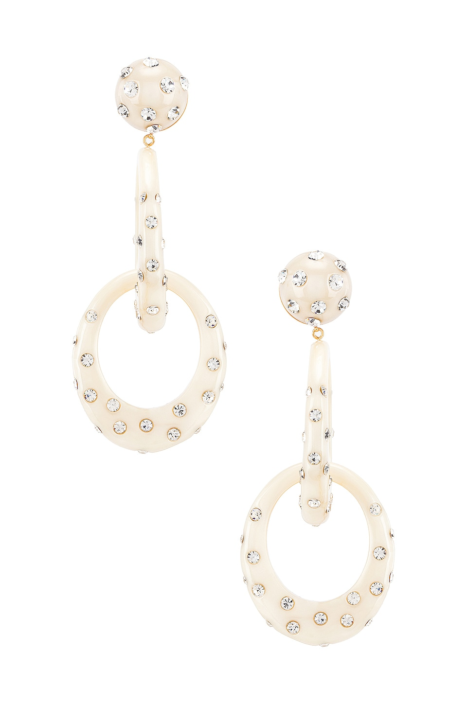 Lele Sadoughi Interlocking Oval Hoops in Ivory