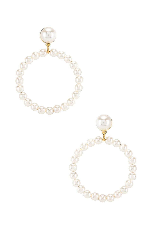 Lele Sadoughi Frontal Pearl Hoop in Pearl