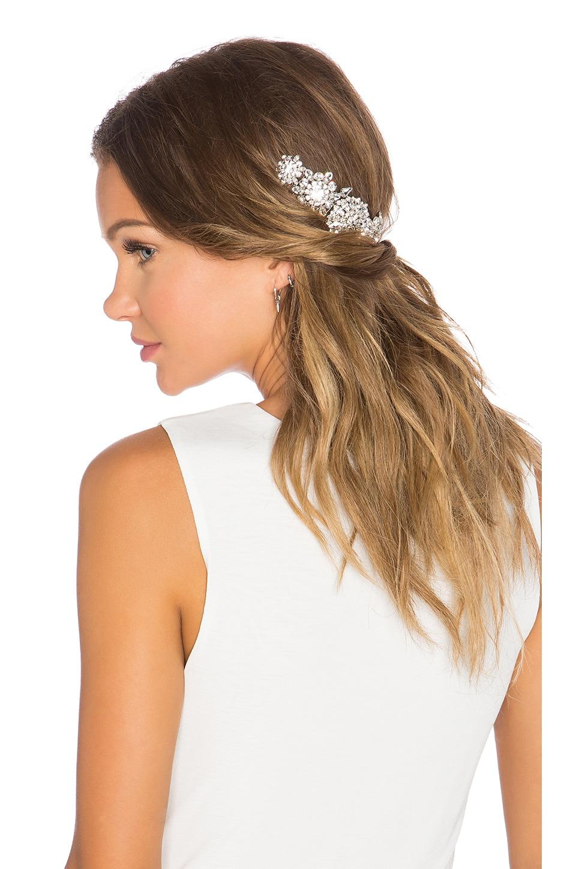 LELET NY Violet Crystal Hair Comb in Rhodium