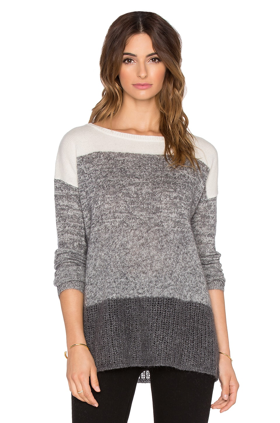 LEO & SAGE Ombre Boatneck Sweater in Granite Fade