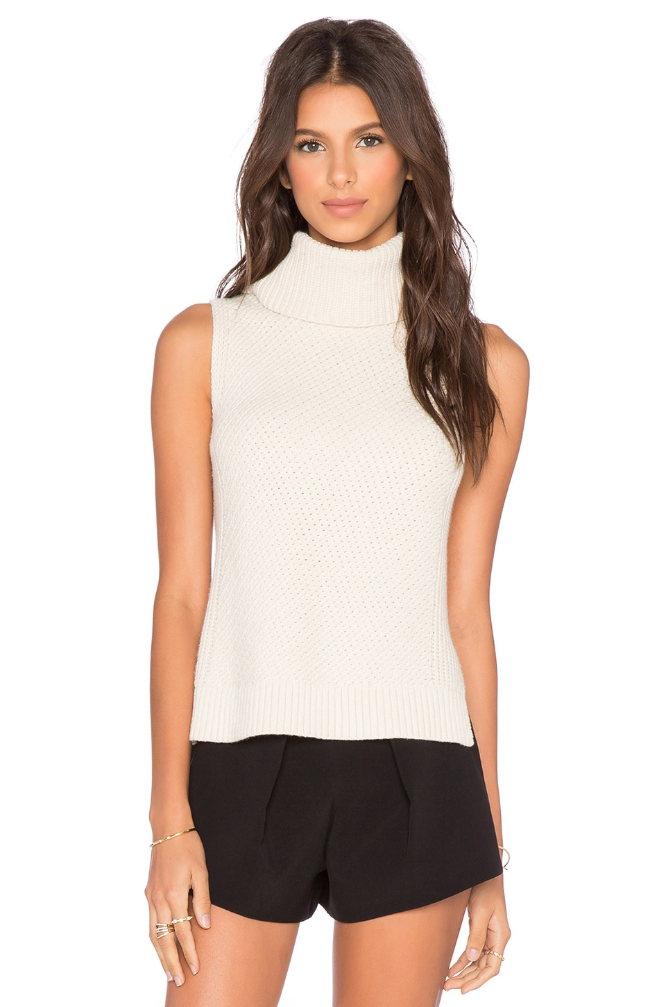 LEO & SAGE Sleeveless Turtleneck Sweater in Winter White | REVOLVE