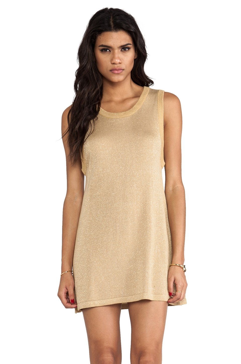 L'AMERICA Gold Rush Lures Knit Dress in Gold