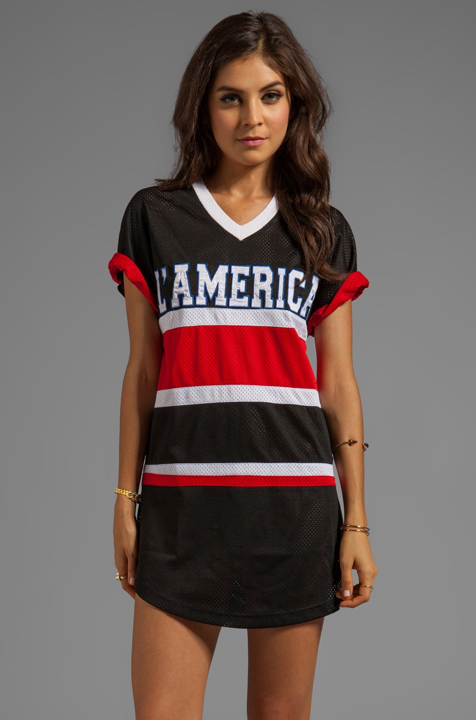 L'AMERICA Dream Team Over Sized Dress in Black/Red/White