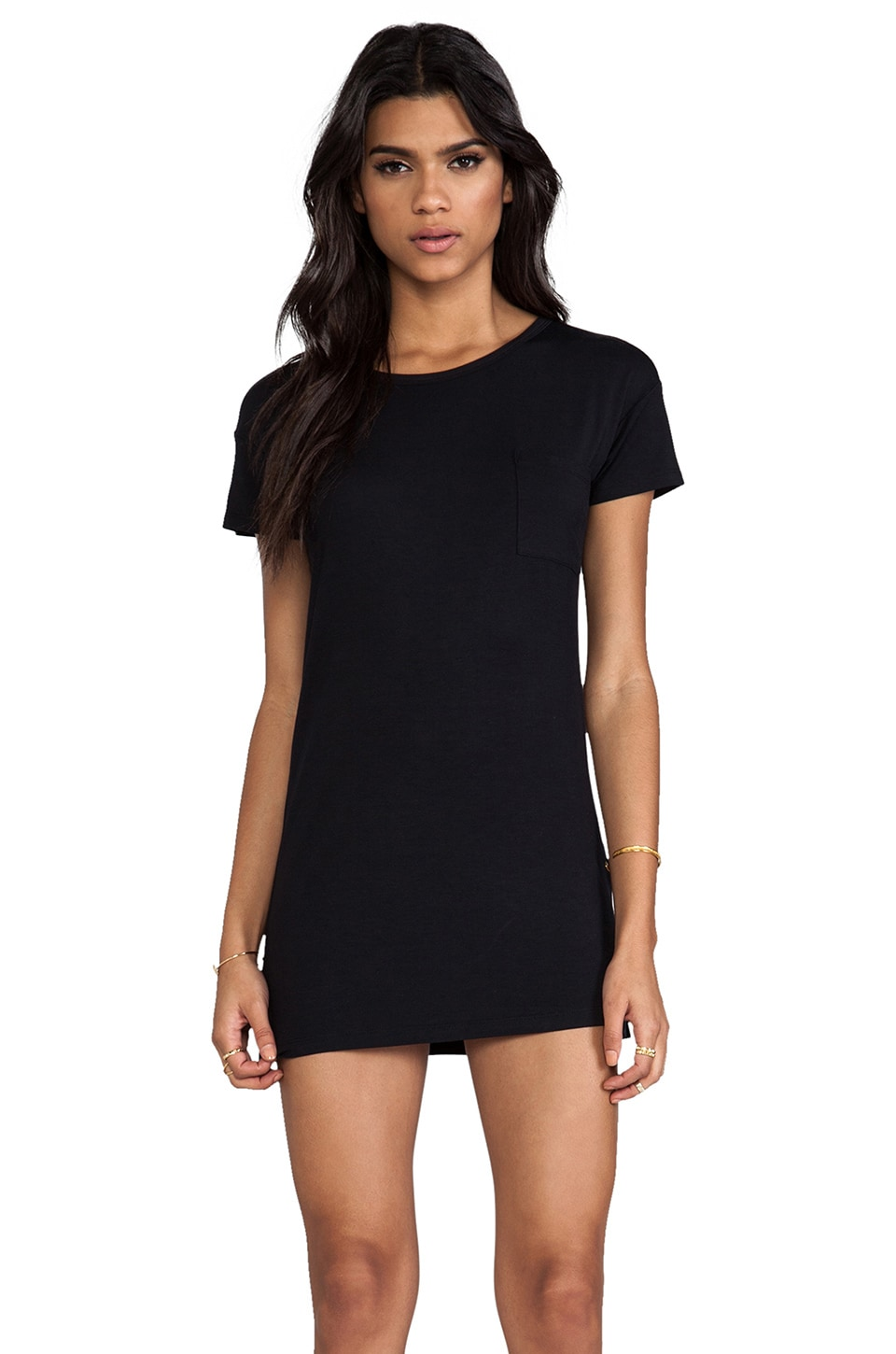 L'AMERICA Eazy Peazy Boyfriend Jersey Dress in Black