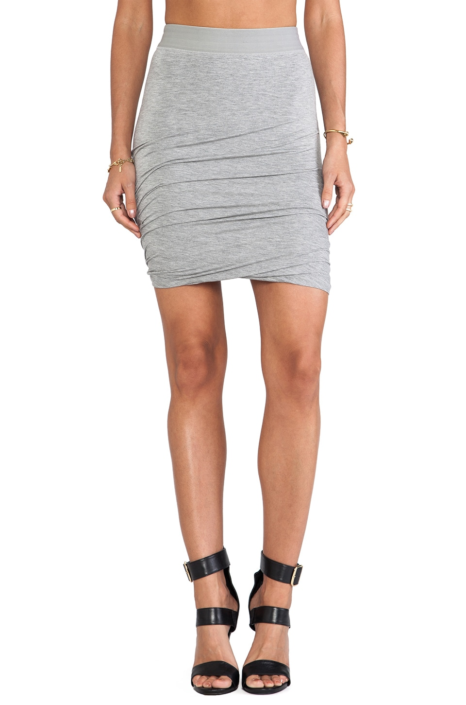 L'AMERICA On A Roll Drape Skirt in Grey Marle