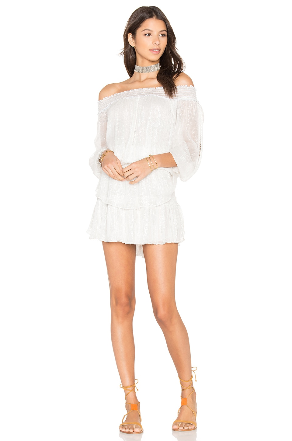 LoveShackFancy Smocked Ruffle Mini Dress in Ivory & Silver
