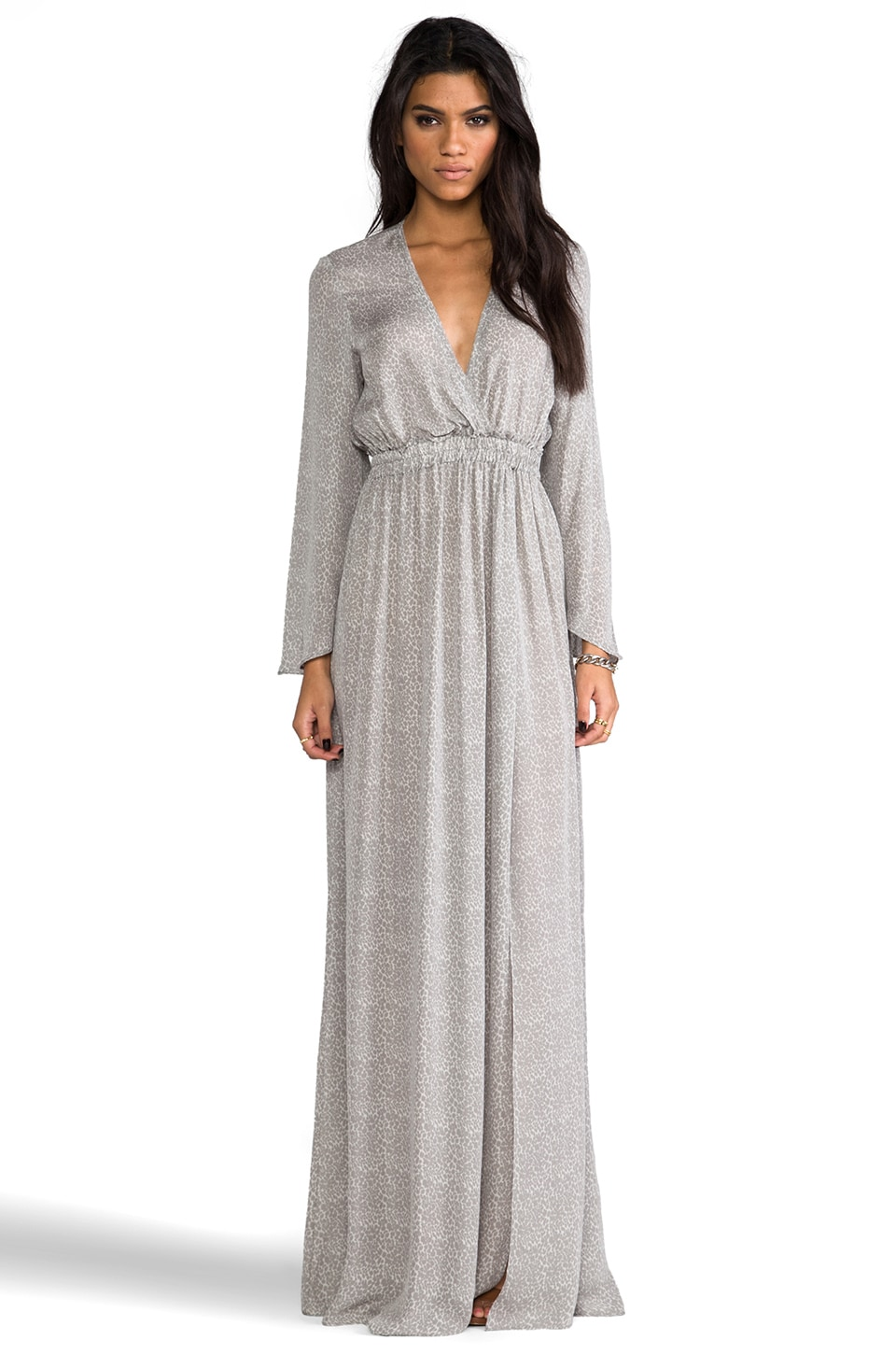 LoveShackFancy Baby Leopard Long Sleeve Slit Maxi Dress in Grey