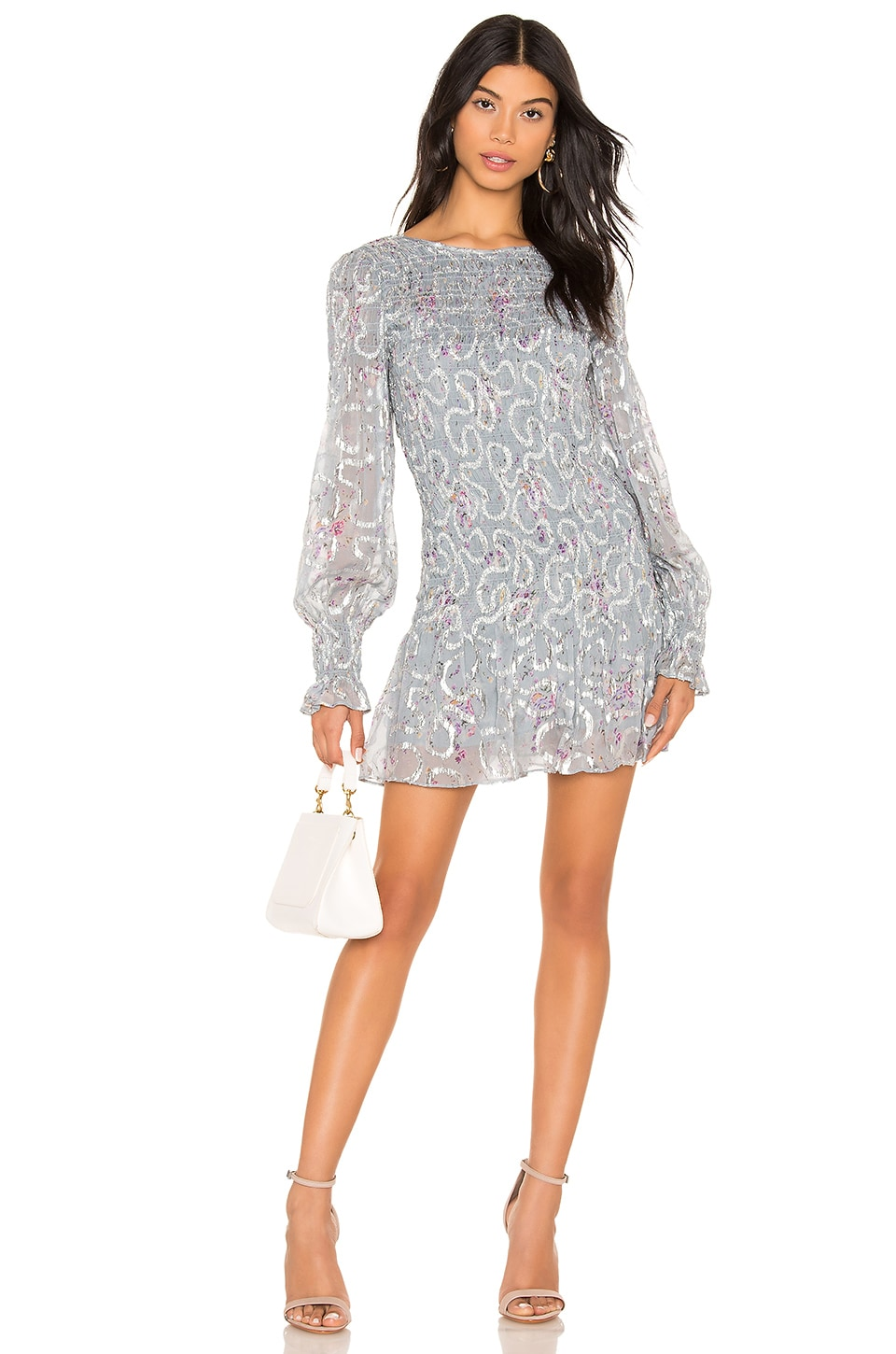 LoveShackFancy Scarlett Mini Dress in Silver Lake