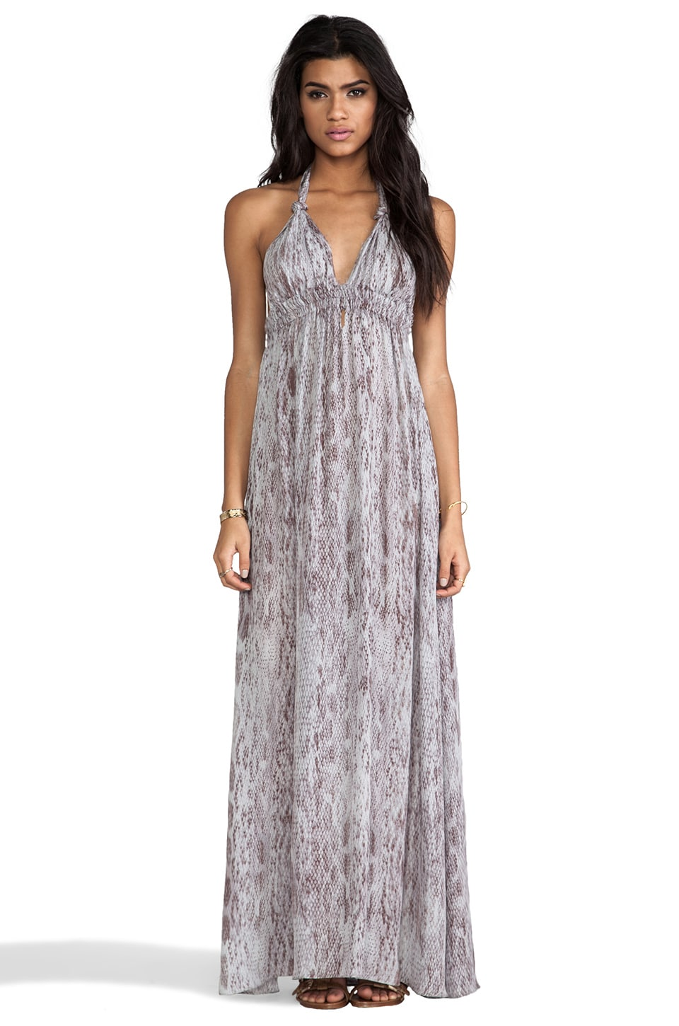 LoveShackFancy Love Shack Fancy Love Maxi Dress in Blue Grey Watersnake