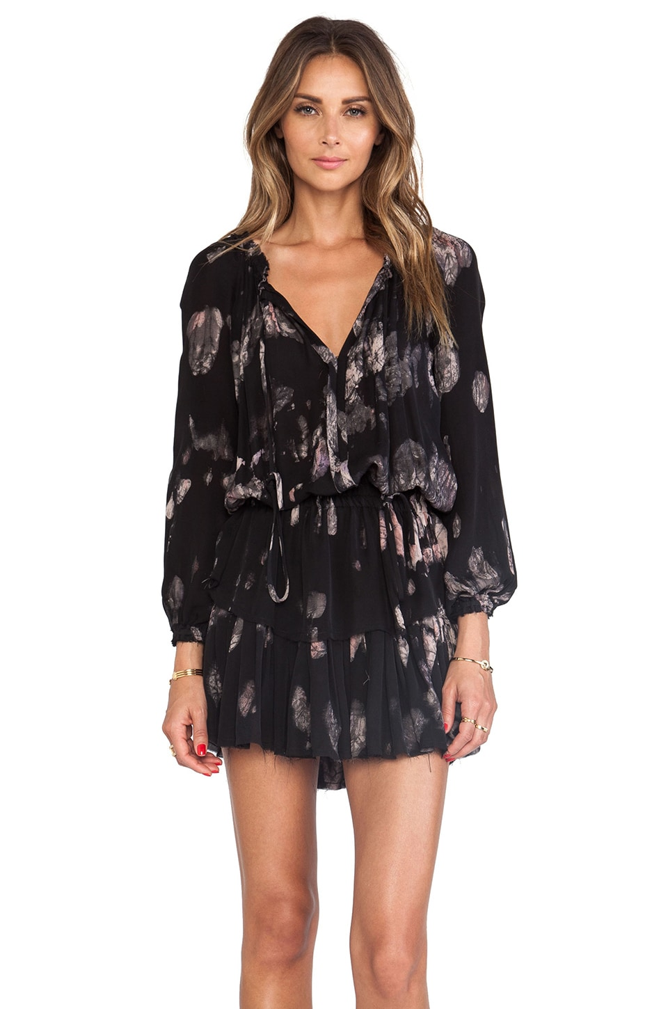 LoveShackFancy Midnight Floral Batik Popover Ruffle Mini Dress in Black & Blush