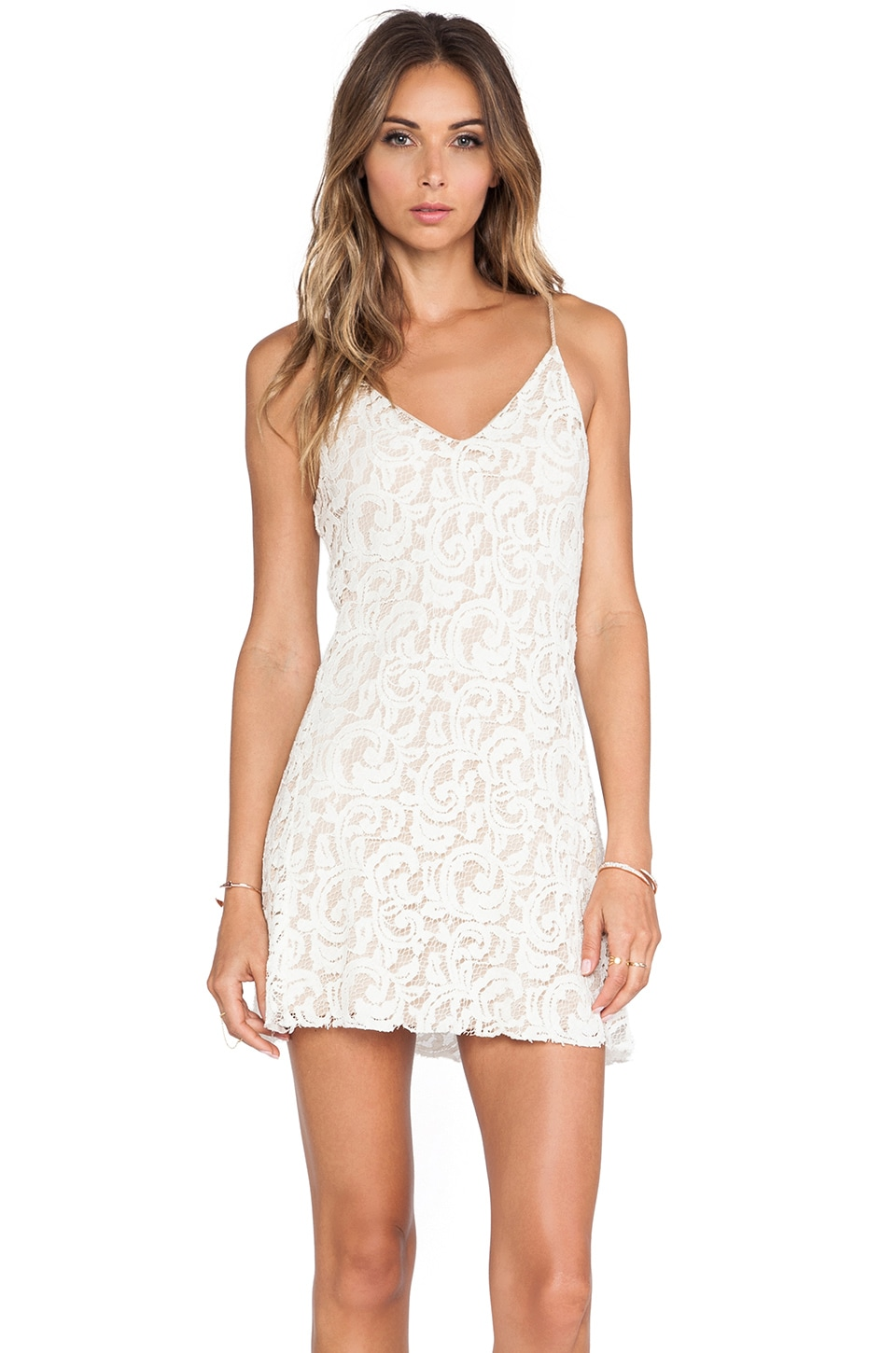 LoveShackFancy Baroque Lace Mini Slip Dress in Cream