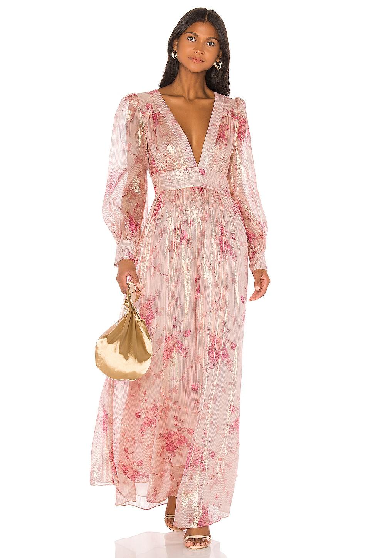 LoveShackFancy Cyrena Dress in Pale Rose Pink
