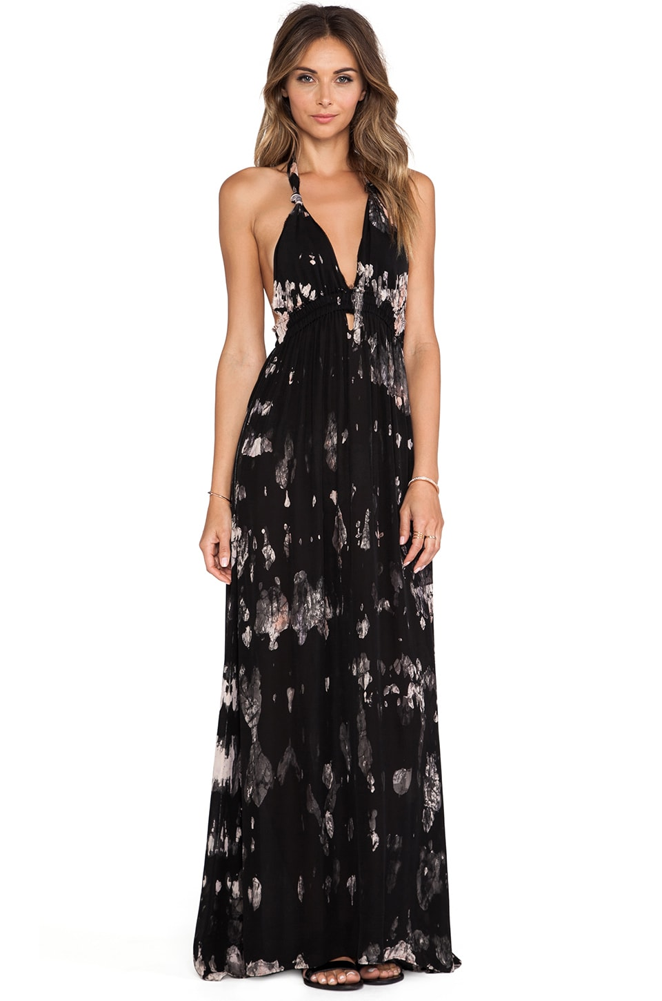LoveShackFancy Midnight Floral Batik Love Dress in Black & Blush