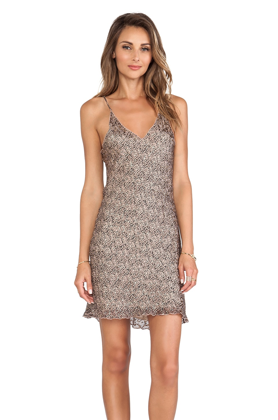 LoveShackFancy Baby Leopard Burnout Slip Mini Dress in Beige Multi