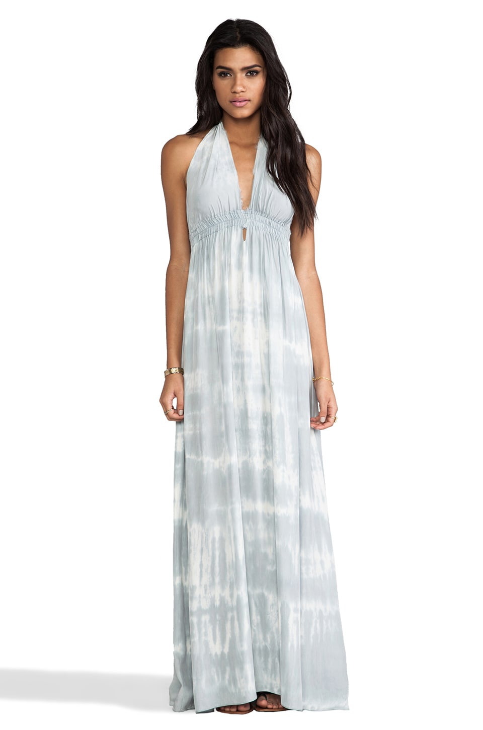 LoveShackFancy Love Shack Fancy Love Maxi Dress in Blue Grey Fall Tie Dye