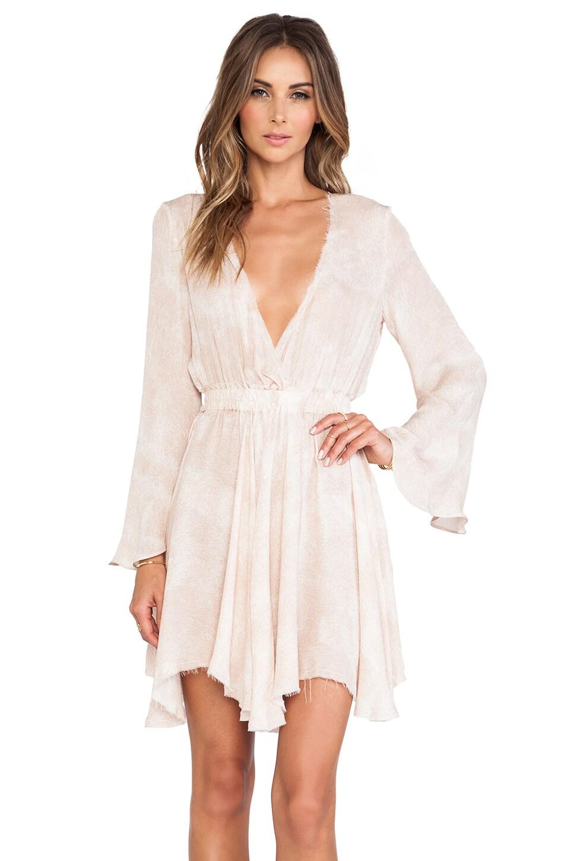 LoveShackFancy Long Sleeve Mini Dress in Mist
