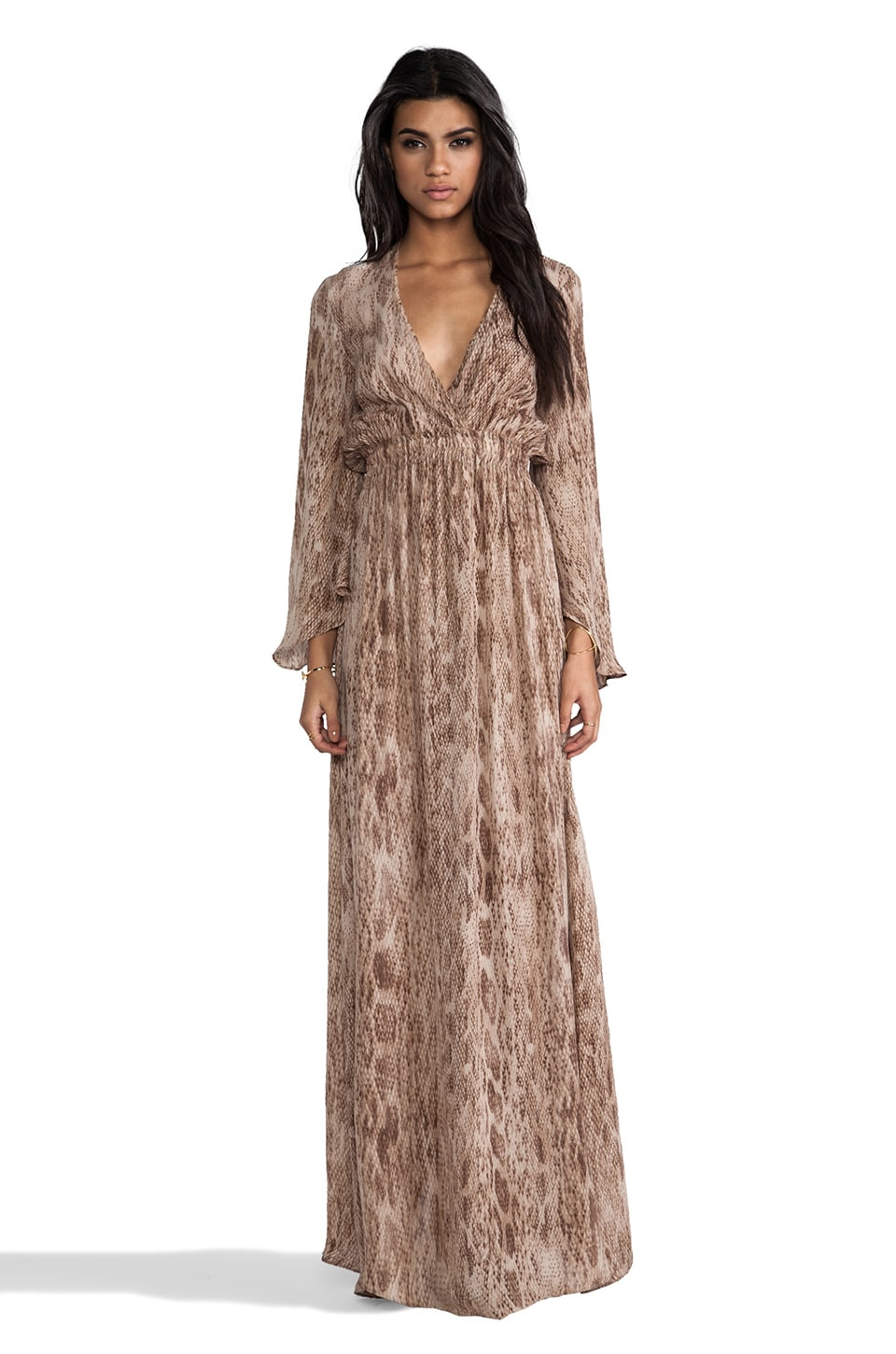 LoveShackFancy Love Shack Fancy Long Sleeve Maxi Dress in Tan Watersnake