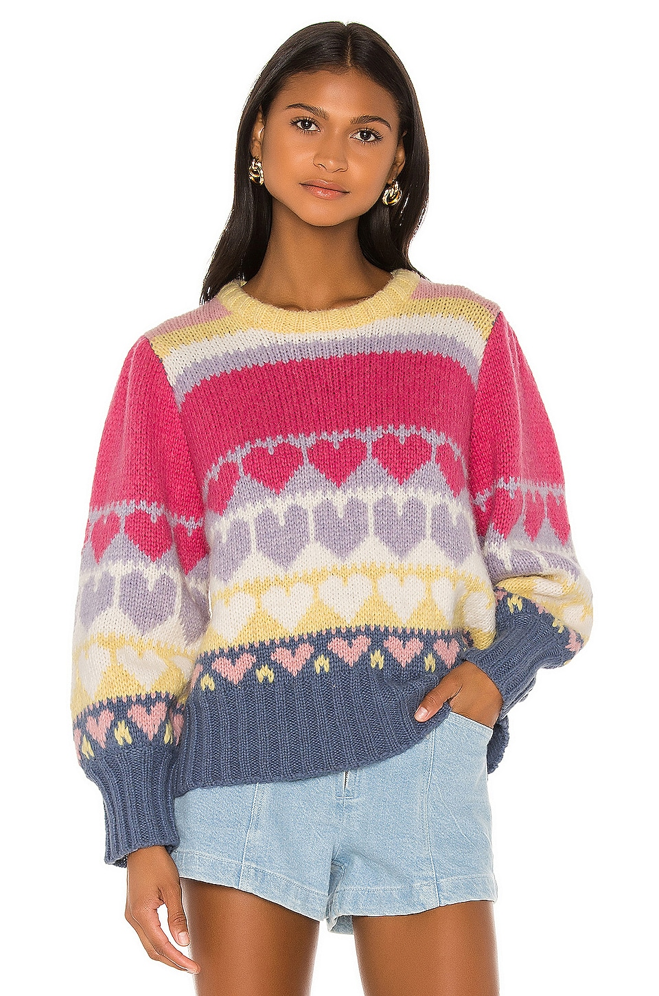 LoveShackFancy Shirelle Pullover in Pink Icing