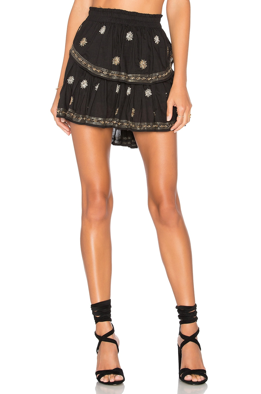 LoveShackFancy Ruffle Mini Skirt in Black