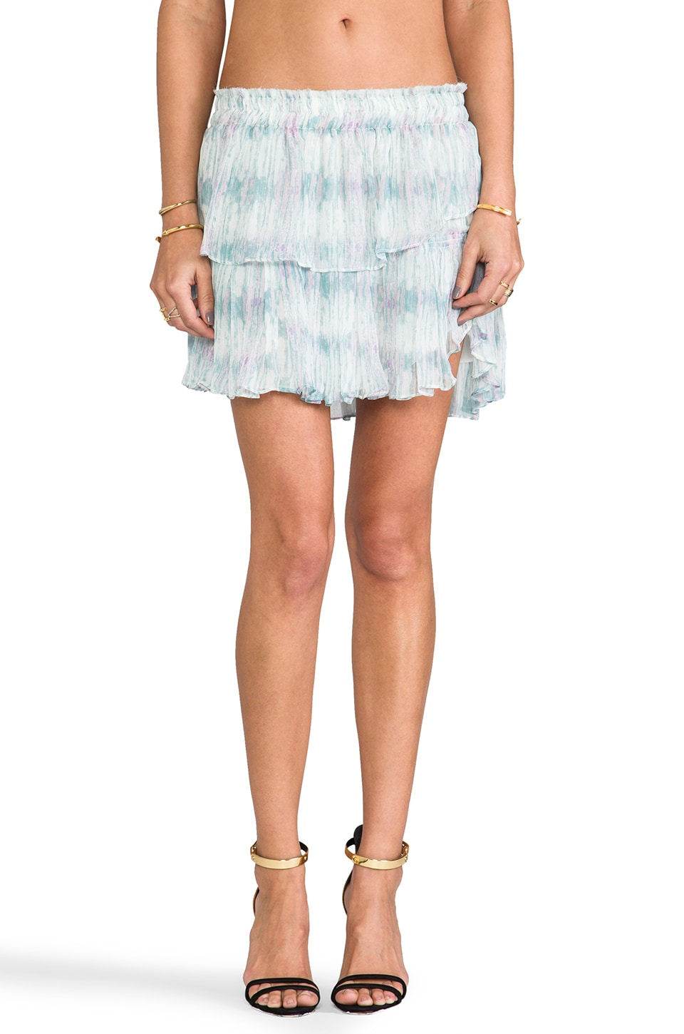 LoveShackFancy Water Color Ikat Ruffle Mini Skirt in Mixed Pastel