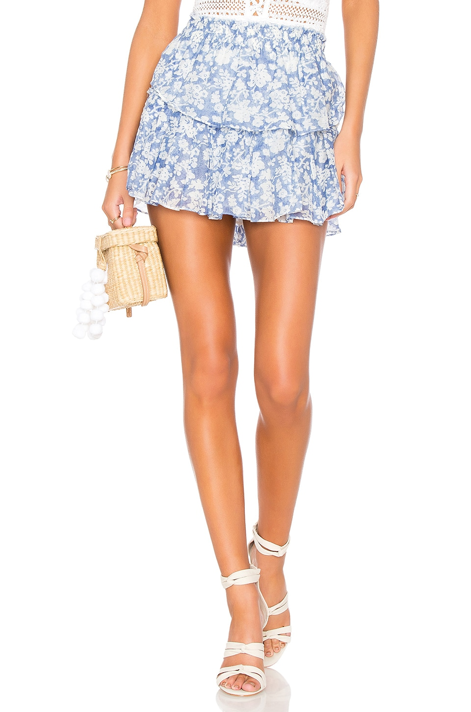 LoveShackFancy Ruffle Mini Skirt in Biscay Blue