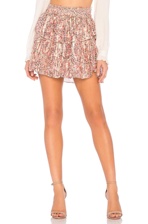 LoveShackFancy Ruffle Mini Skirt in Pomegranate