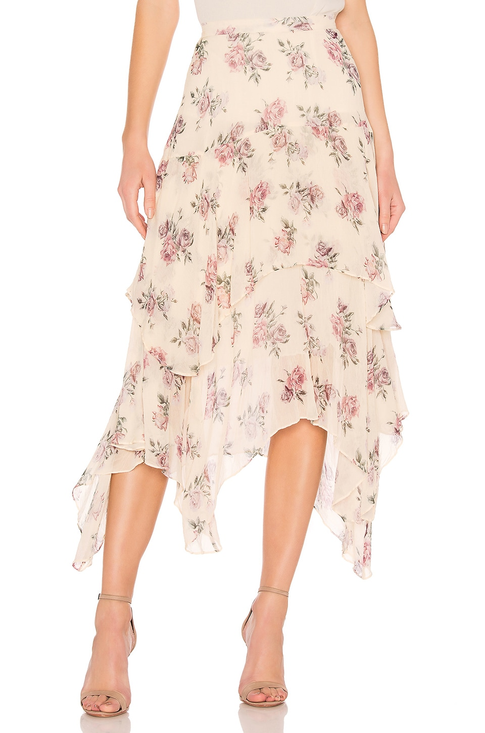 LoveShackFancy Alex Silk Skirt in Dream