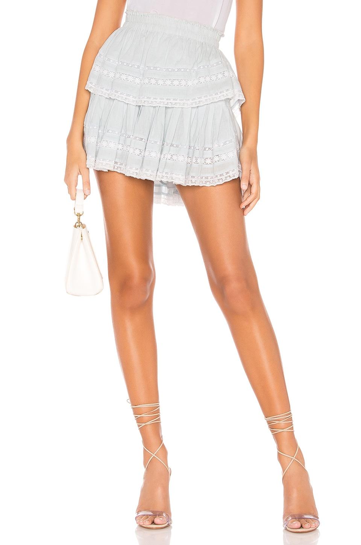 LoveShackFancy Ruffle Mini Skirt in Riviera