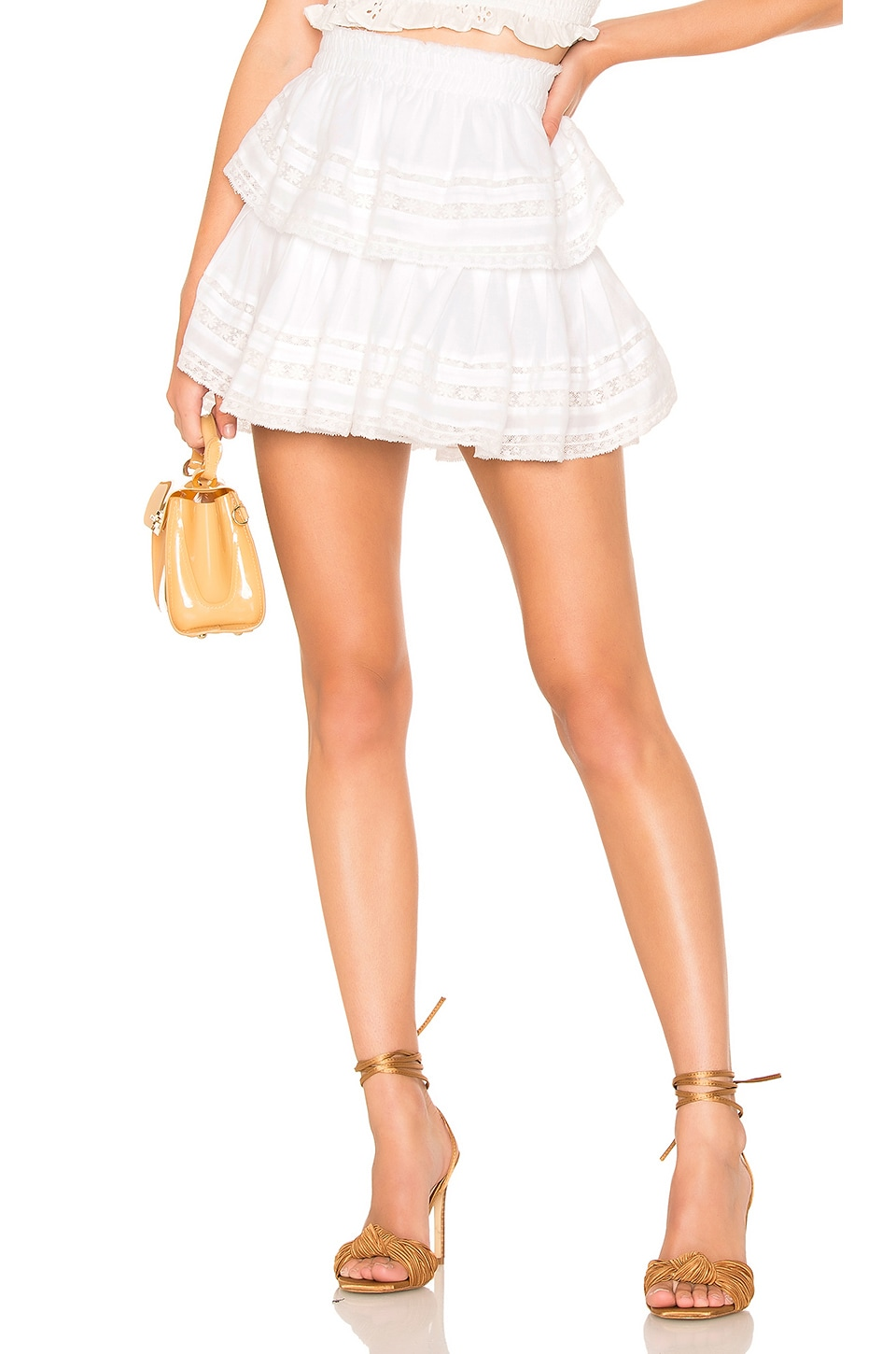LoveShackFancy Ruffle Mini Skirt in White