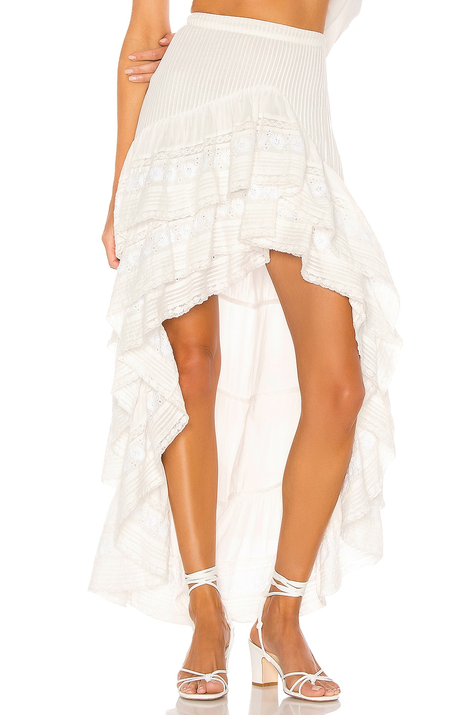 LoveShackFancy Lisette Maxi Skirt in Antique White