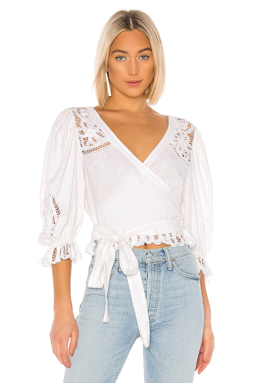 LoveShackFancy Domino Top en White