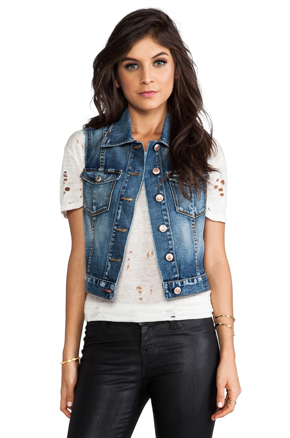 Level 99 Denim Vest in Stratus