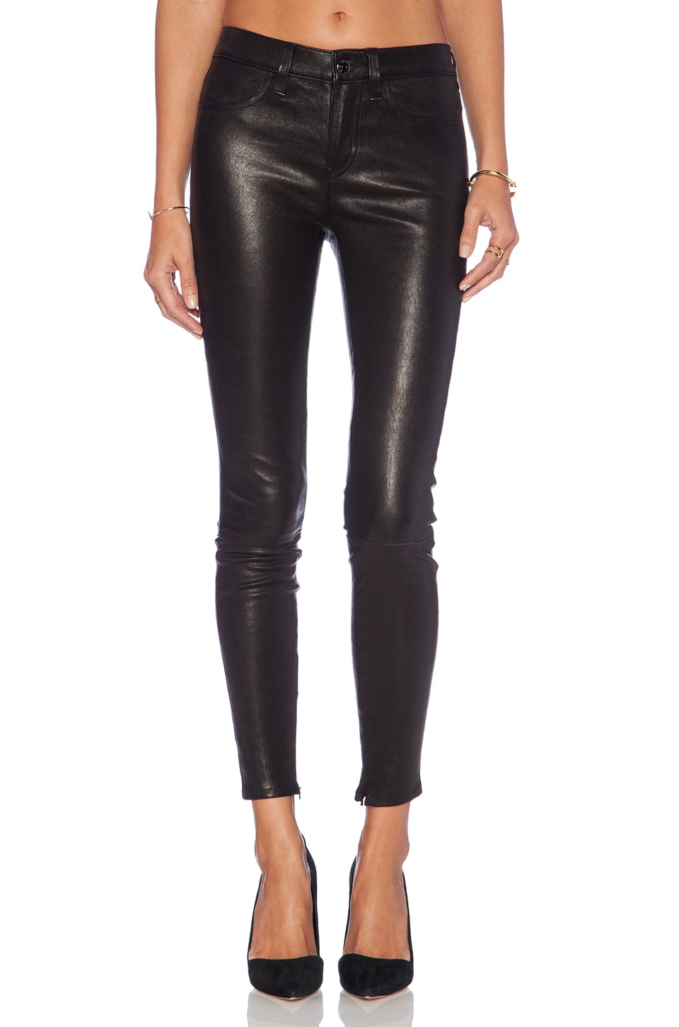 Level 99 Leather Skinny in Black
